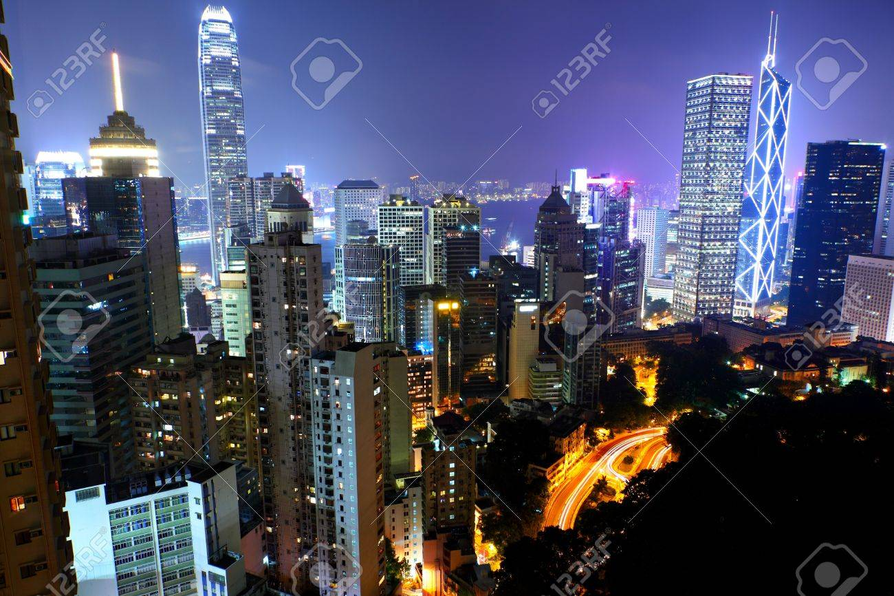 Hong Kong at night Stock Photo - 12984774