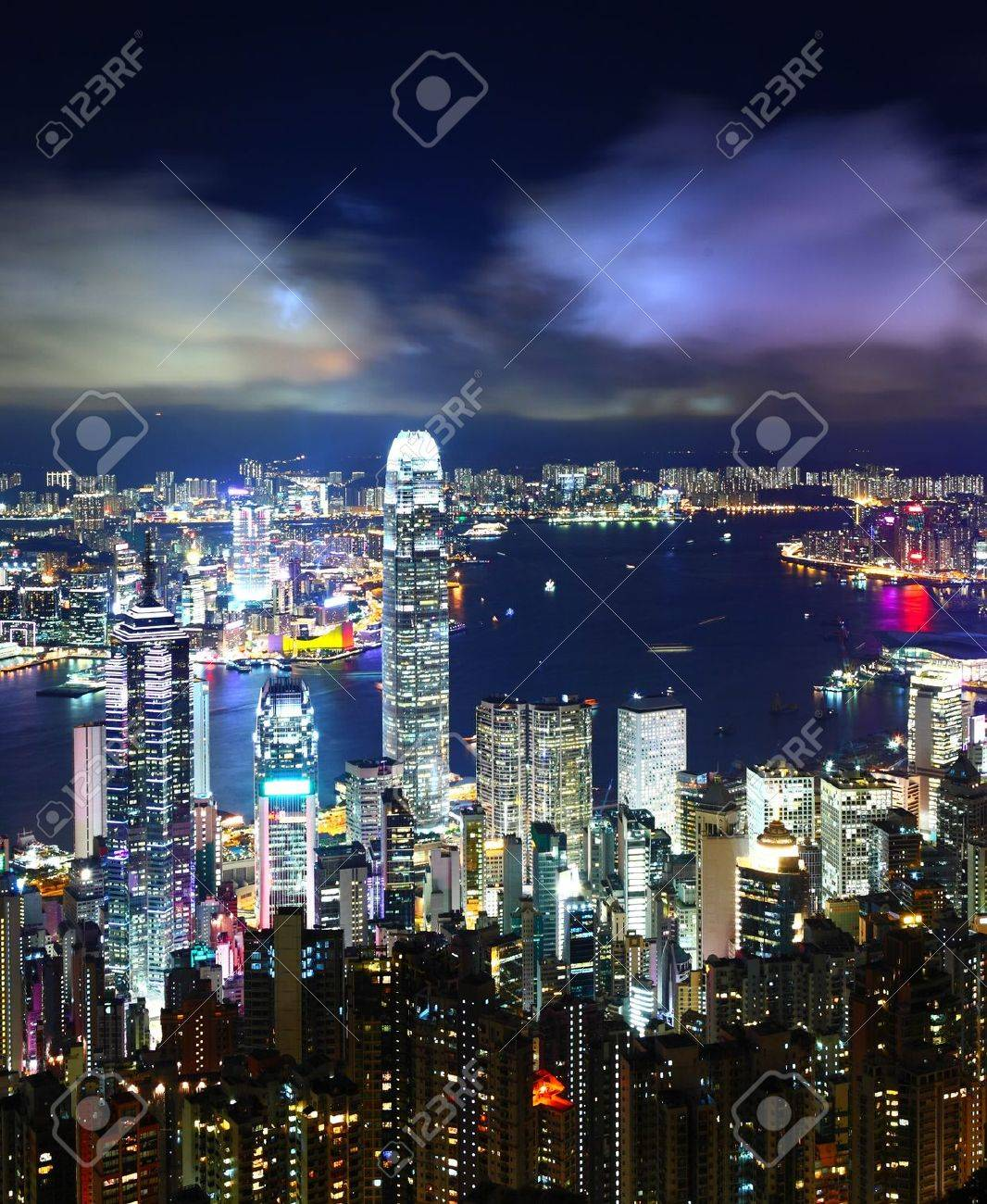 Hong Kong City Night Stock Photo - 15638408