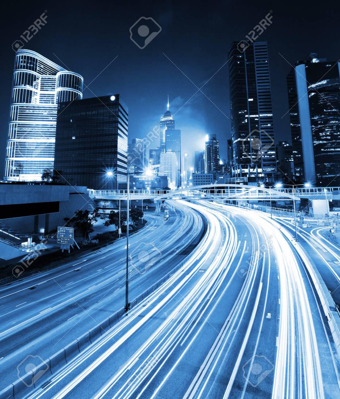 traffic light through city at night Stock Photo - 19146644
