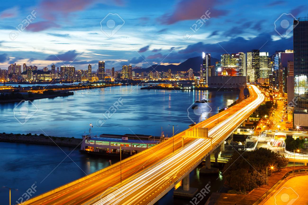 Hong Kong city at night Stock Photo - 20868410