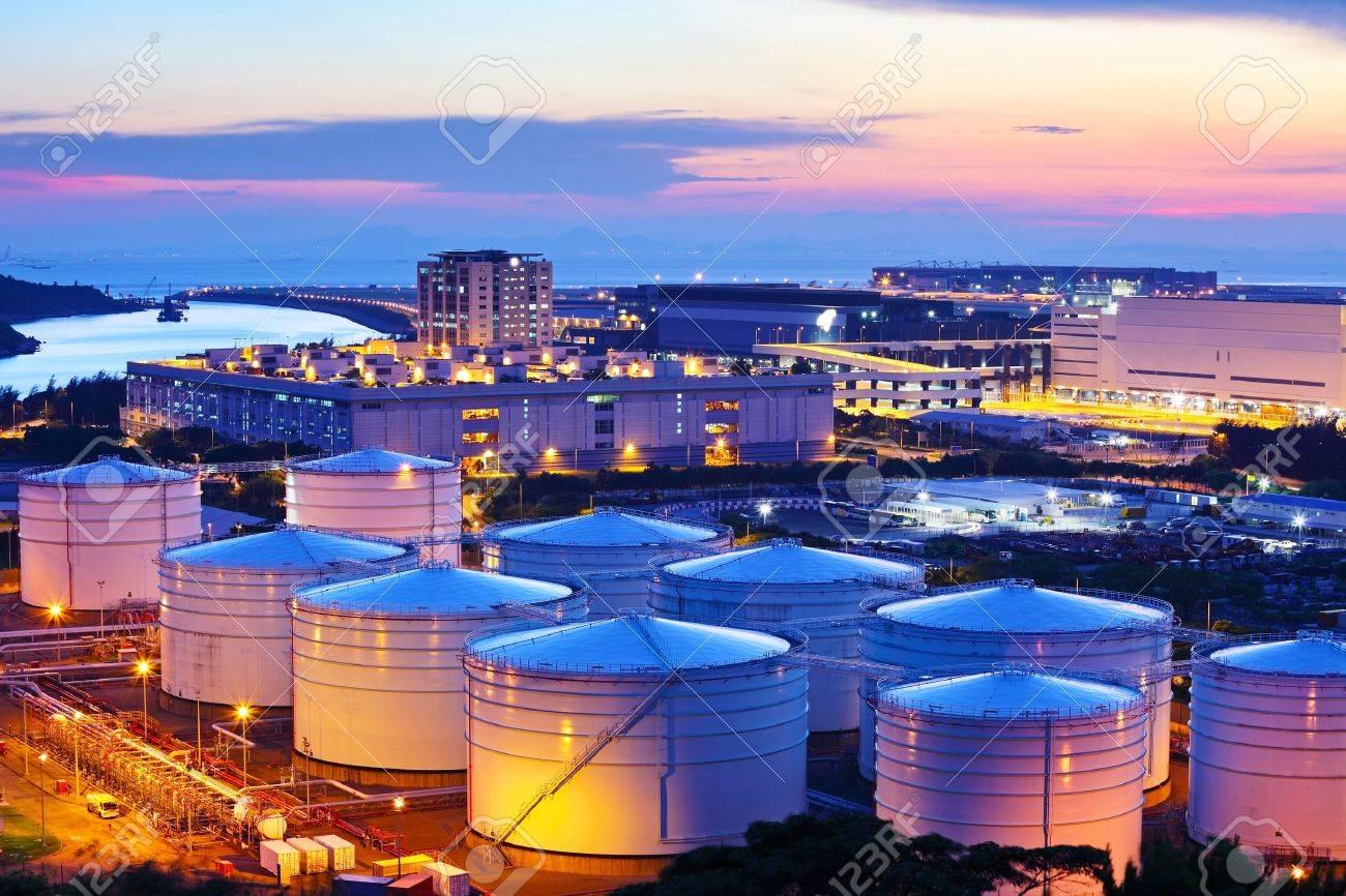 Oil tank during sunset - 20999329