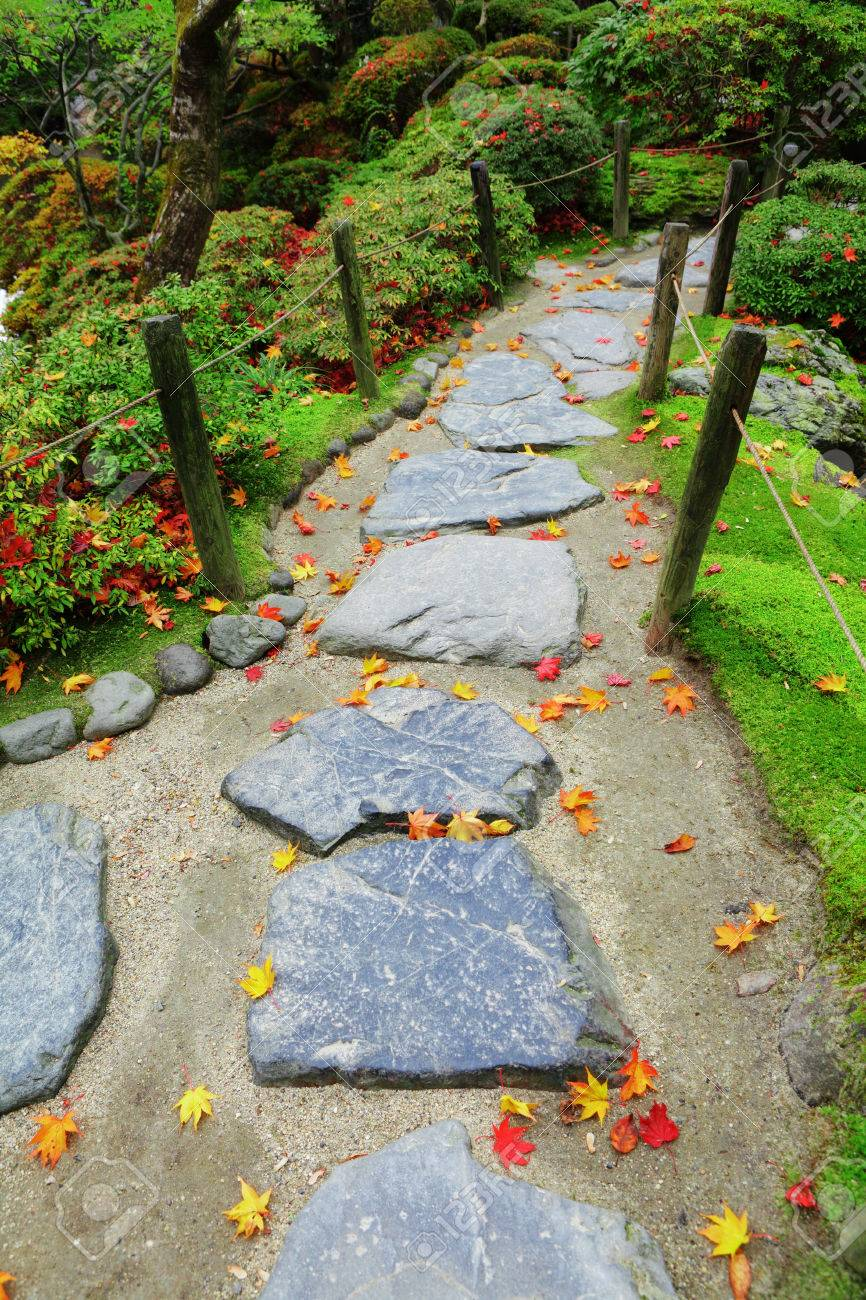 Pebble Garden Pebble Stone Path With Maple Leaves In Japan Garden Stock Photo