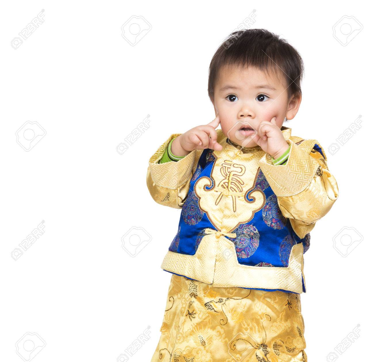 Asian baby boy with chinese costume and finger point to face Stock Photo - 26251659  sc 1 st  123RF.com & Asian baby boy with chinese costume and finger point to face