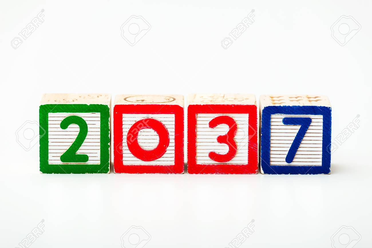 Stock Photo - Wooden block for year 2037