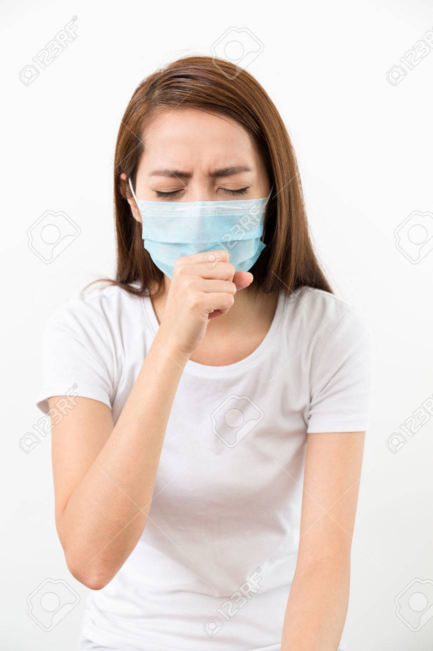 Face Cough Woman Though Mask Medical