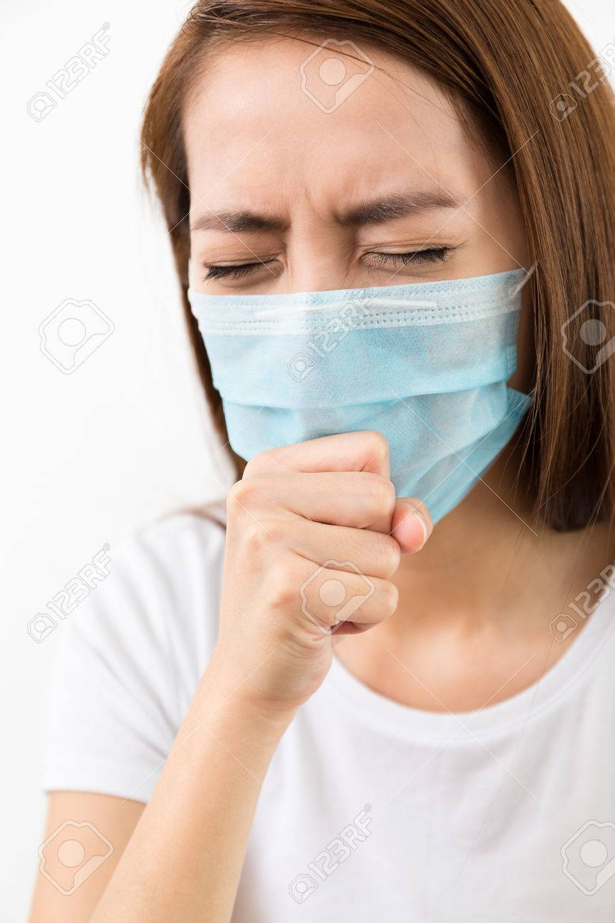 Cough With Mask Woman Cough Woman