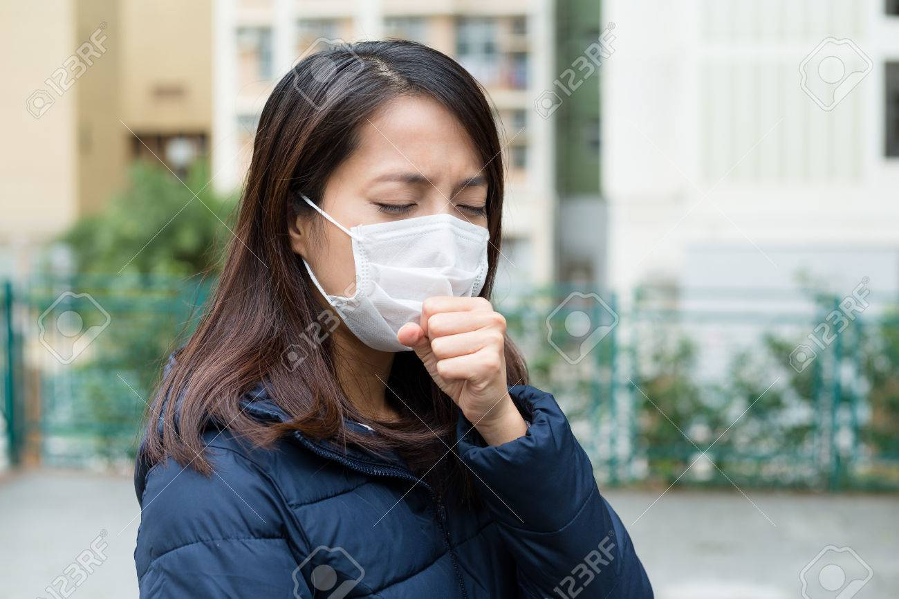 Mask Woman Face Cough Asian With