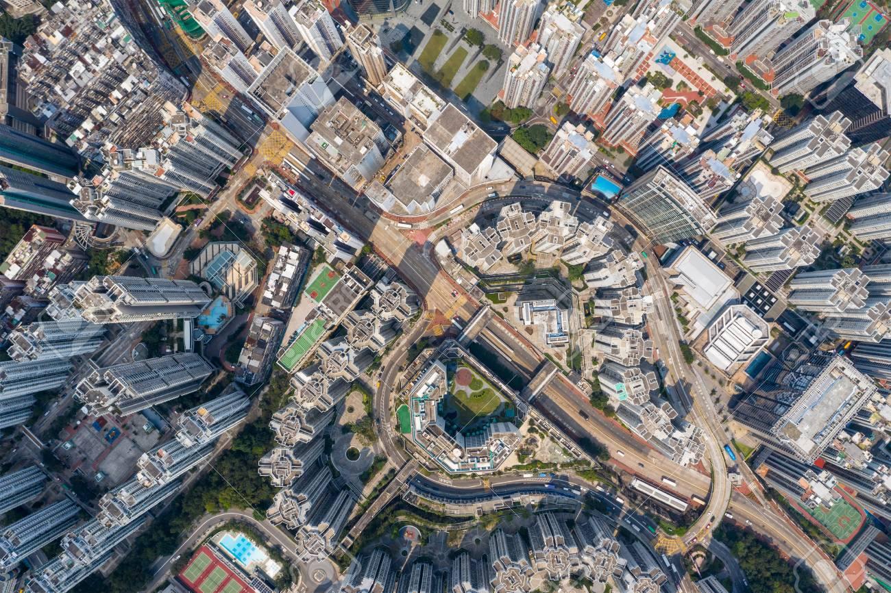 Top down view of Hong Kong city - 120124880