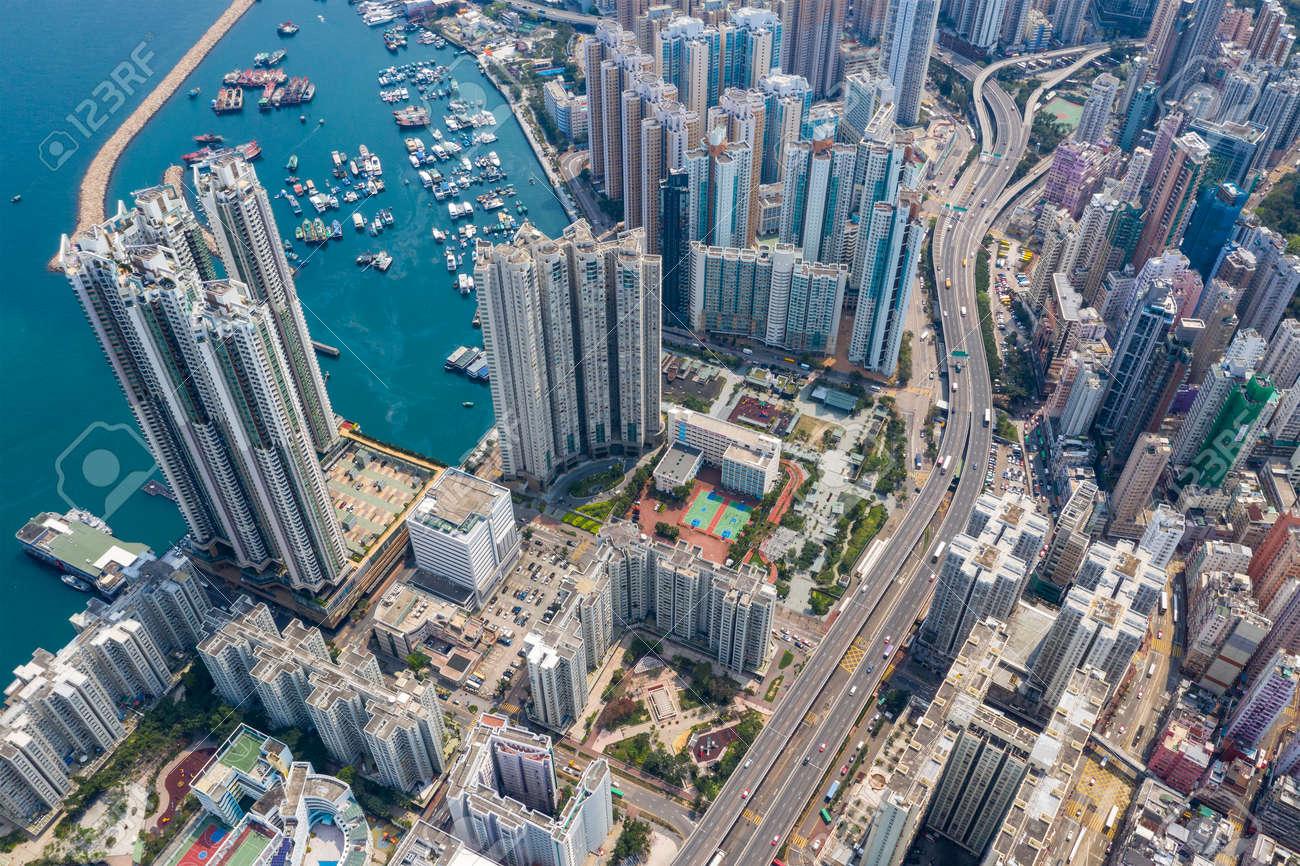 Top down view of Hong Kong city - 120134919
