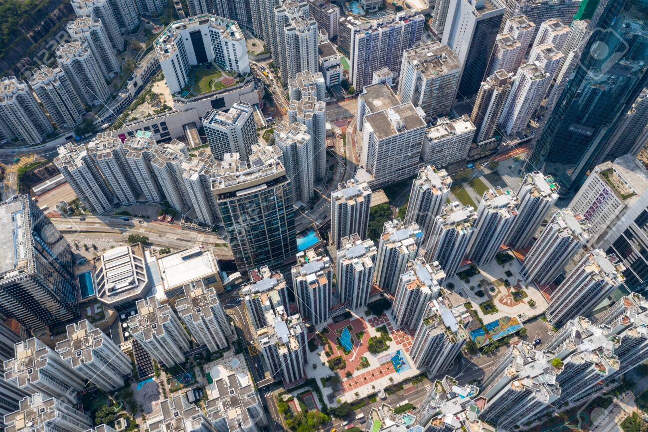 Top down view of Hong Kong residential district - 120244754