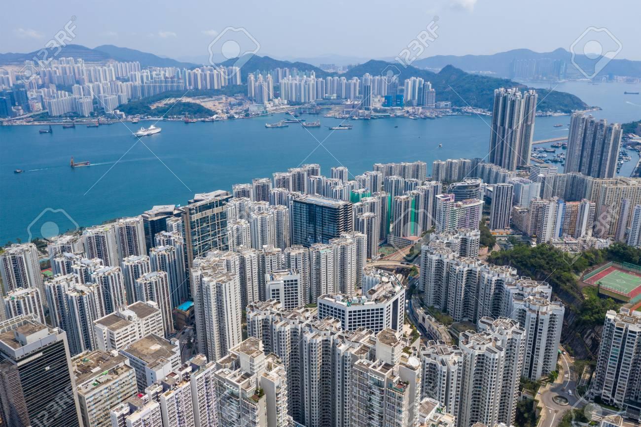 Shau Kei Wan, Hong Kong 19 March 2019: Top view of Hong Kong city - 120471842