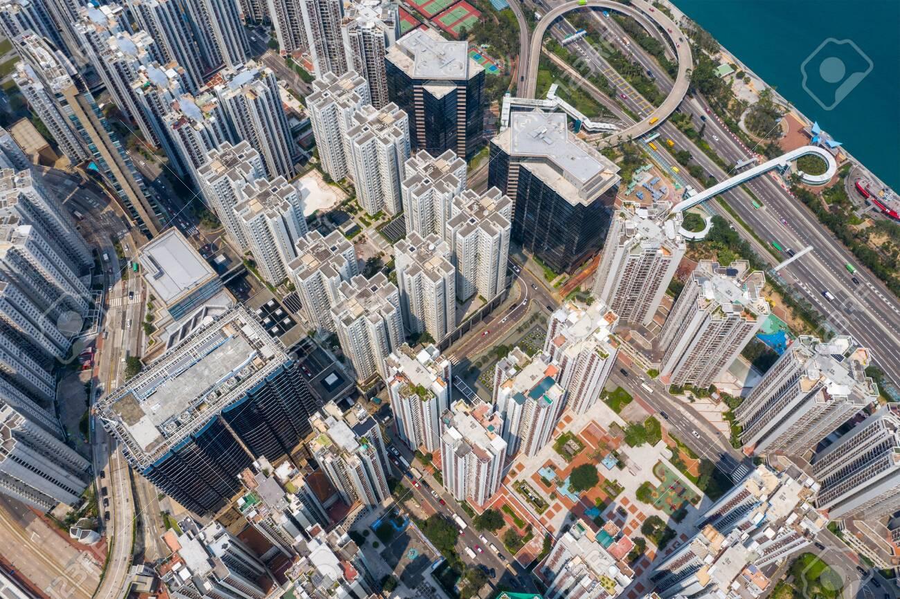 Tai Koo, Hong Kong 19 March 2019: Top down view of Hong Kong city - 120628299