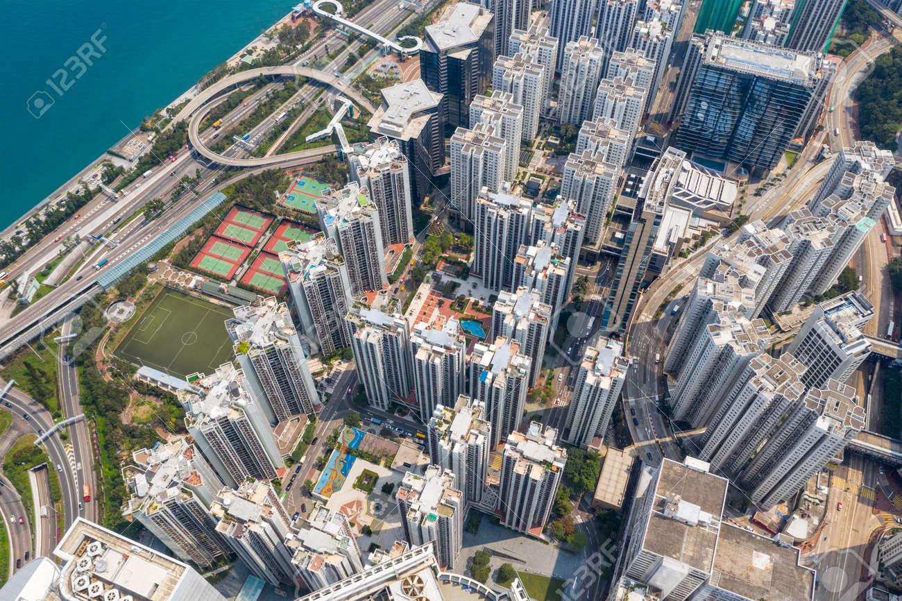 Tai Koo, Hong Kong 19 March 2019: Top view of Hong Kong city - 120629566