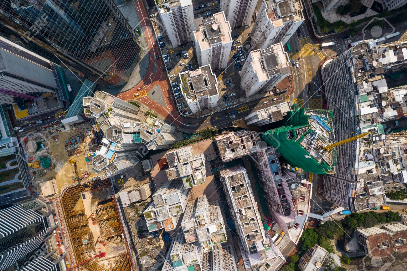 aerial view of Top down view of Hong Kong city - 120940279