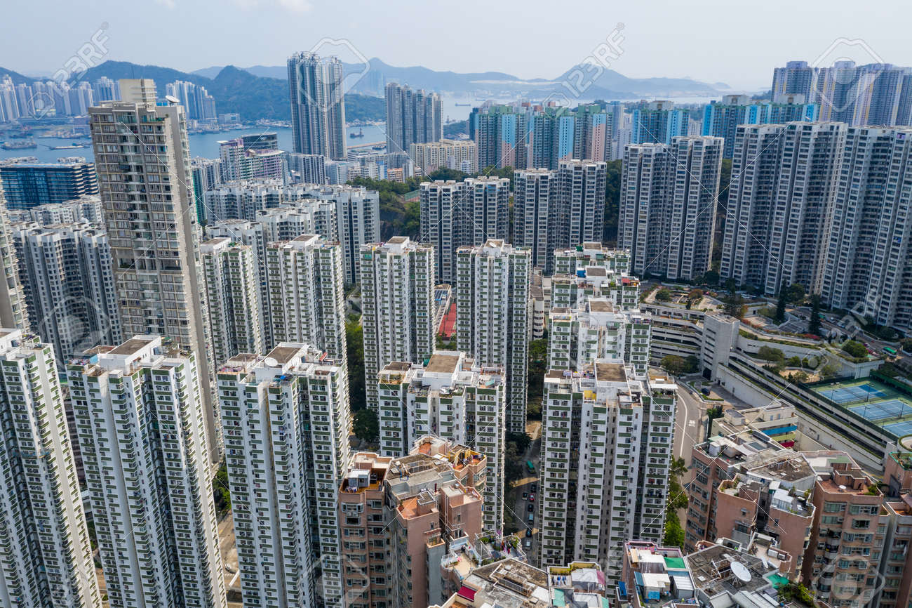 Drone fly over Hong Kong city - 120941003