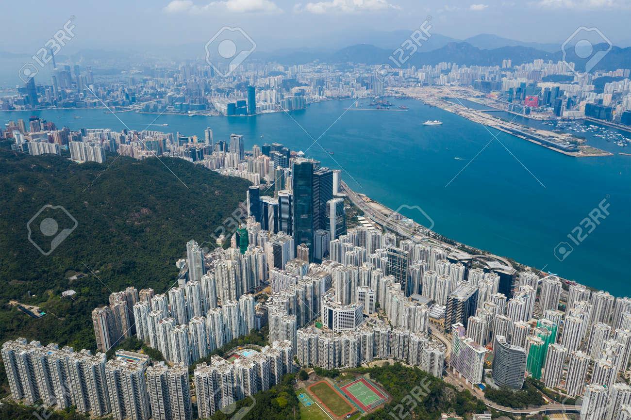 Aerial Hong Kong downtown city - 120942547