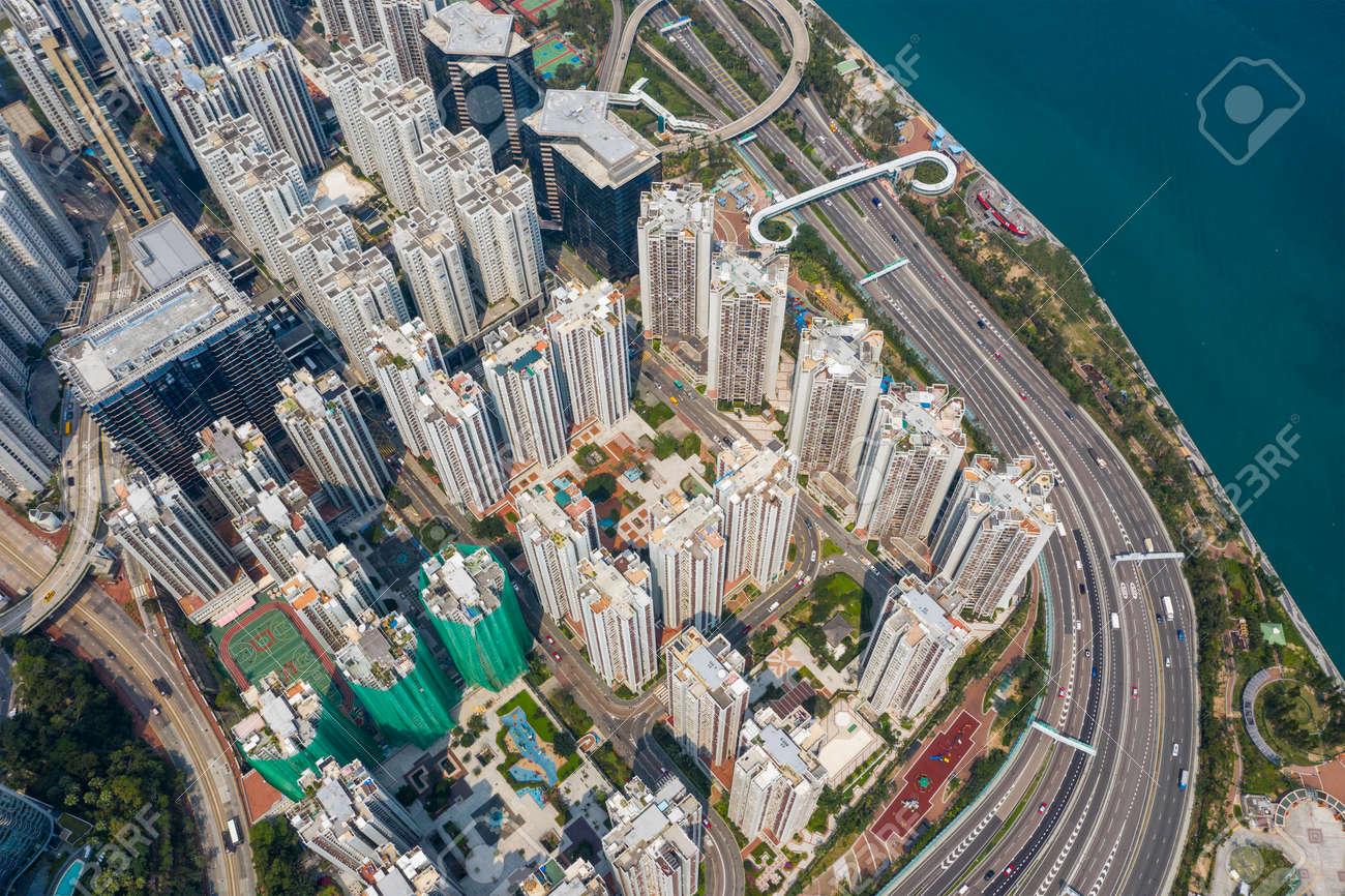 aerial Top view of Hong Kong city - 120942808