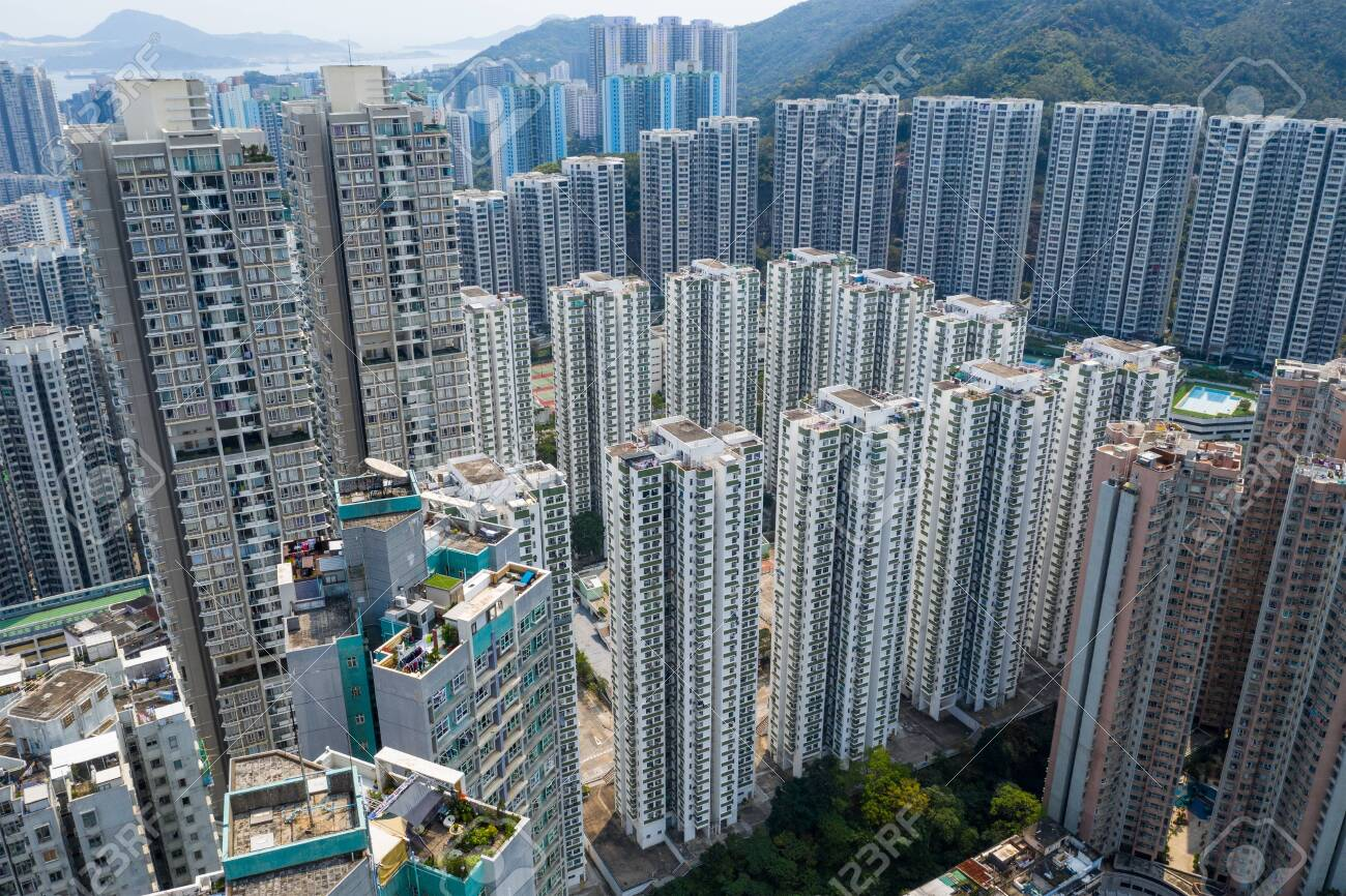 Drone fly over Hong Kong city - 120953374