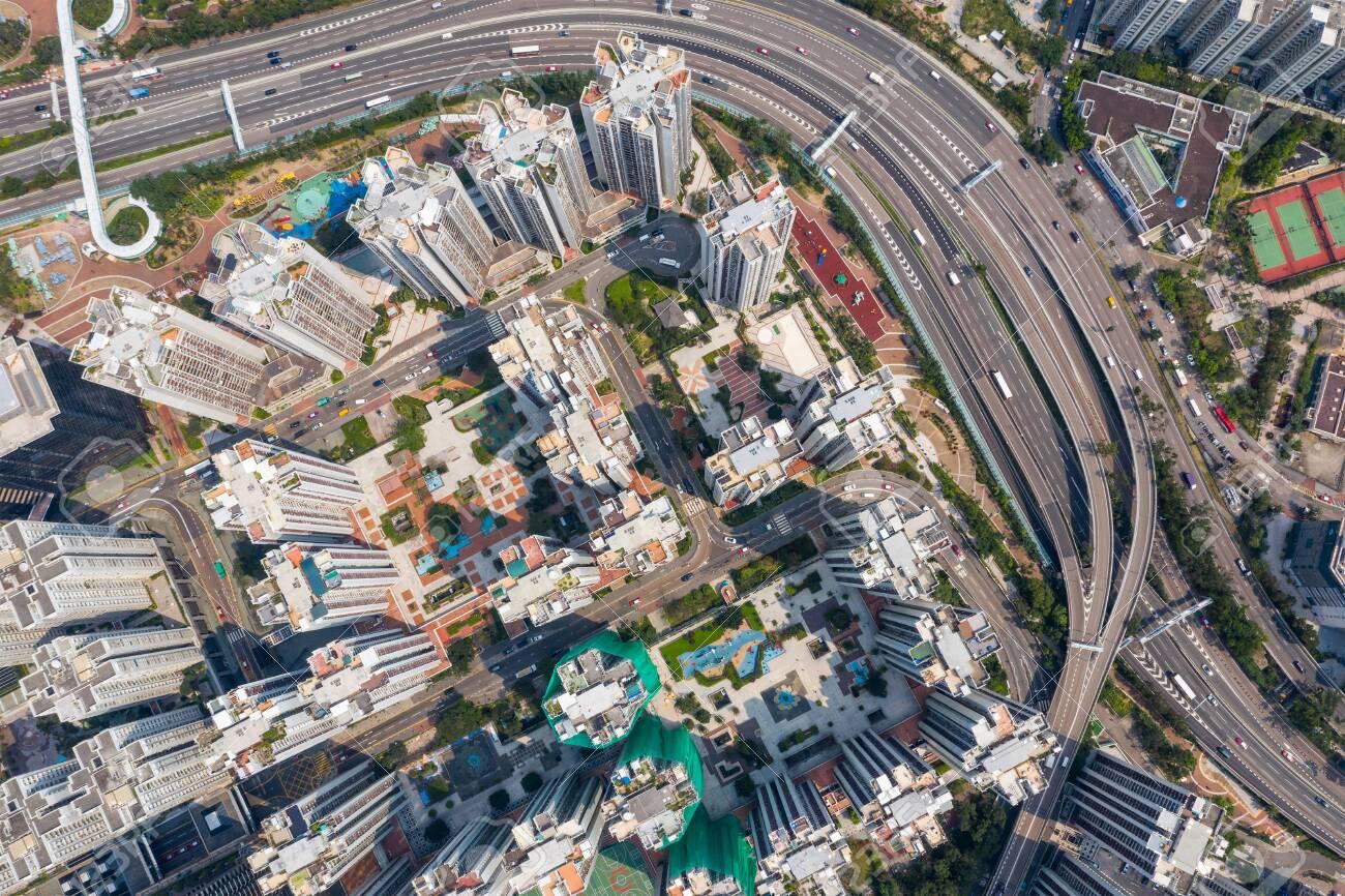 aerial Top view of Hong Kong city - 120955860
