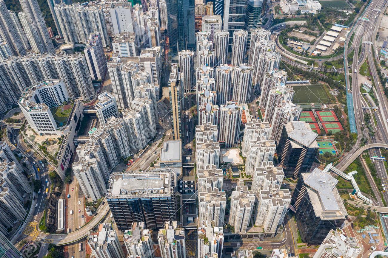 Tai Koo, Hong Kong 19 March 2019: Aerial view of Hong Kong city - 122129549