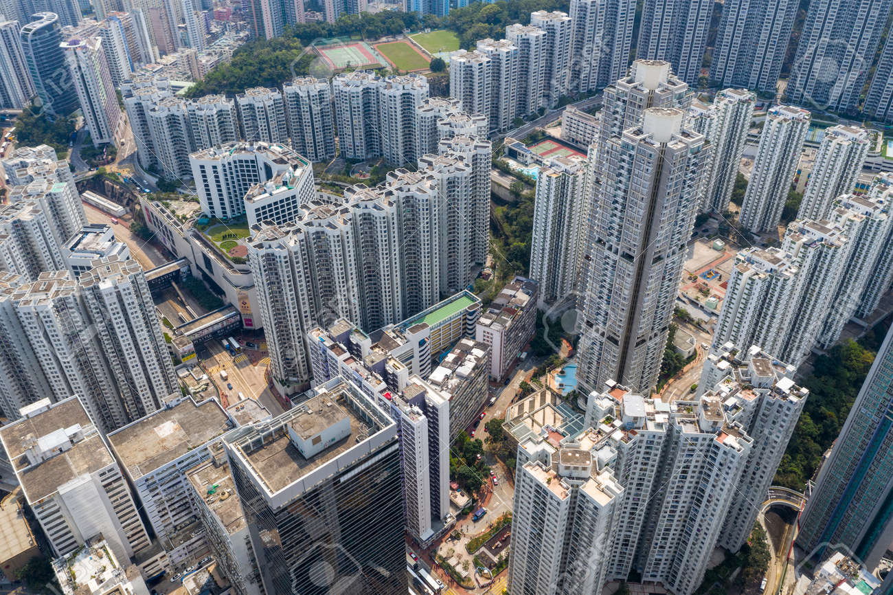 Tai Koo, Hong Kong, 19 March 2019: Top view of city in Hong Kong - 122178432
