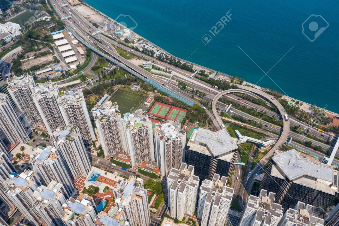 Tai Koo, Hong Kong 19 March 2019: Aerial view of Hong Kong city - 122180982