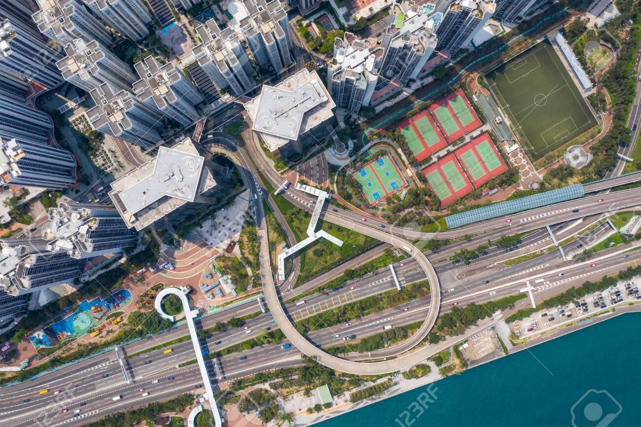 Quarry bay, Hong Kong 19 March 2019: Drone fly over Hong Kong city - 122181090
