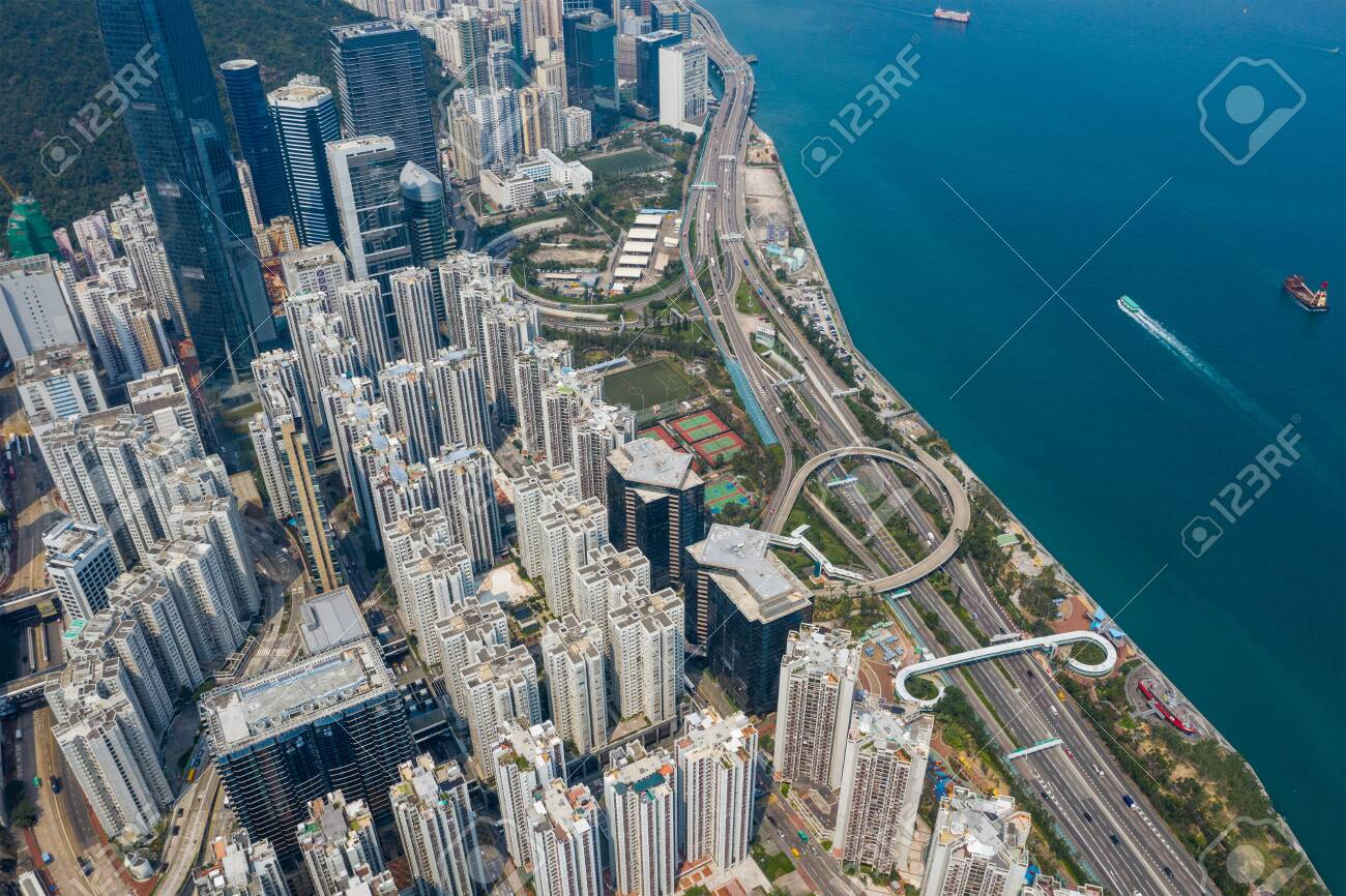 Tai Koo, Hong Kong 19 March 2019: Top view of Hong Kong city - 122181249
