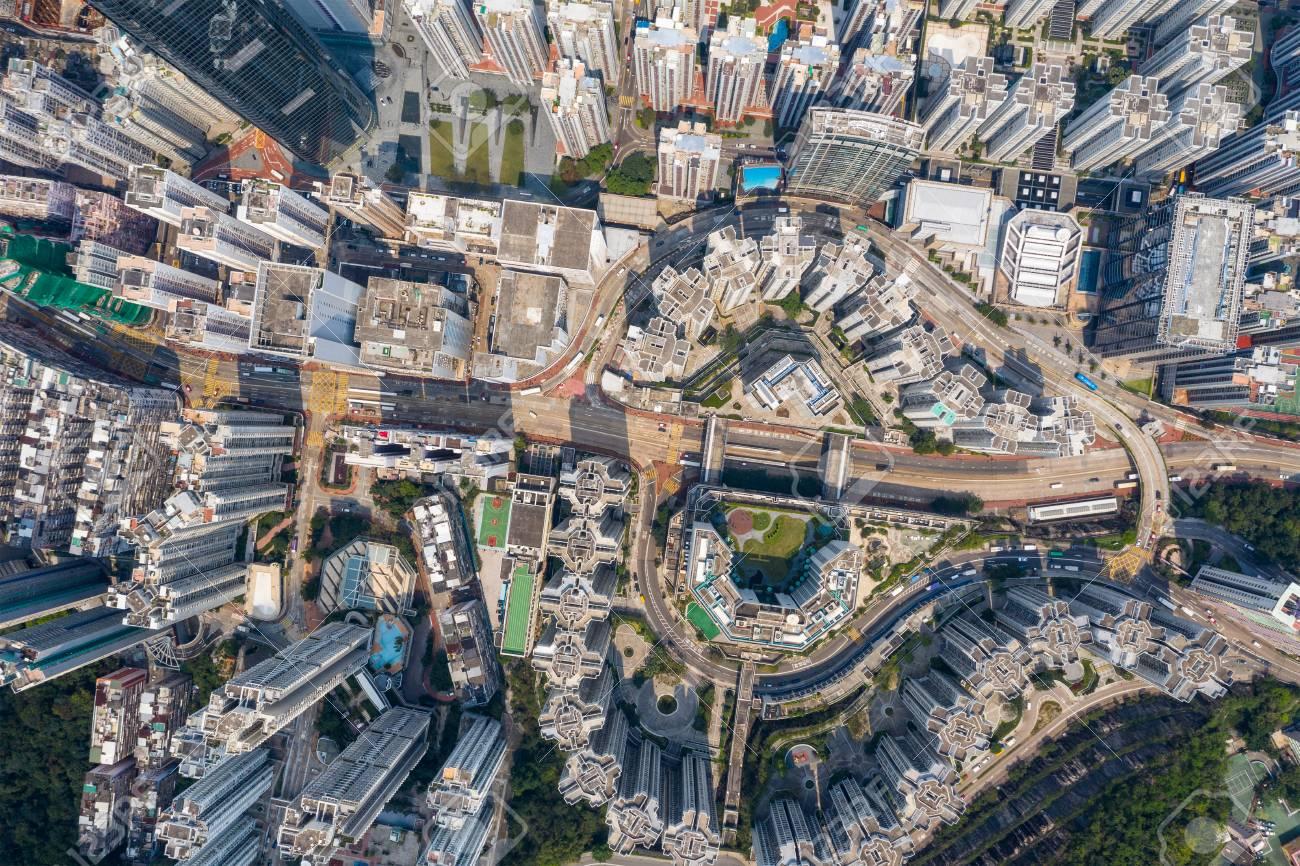 Tai Koo, Hong Kong 19 March 2019: Drone fly over Hong Kong city - 122181416