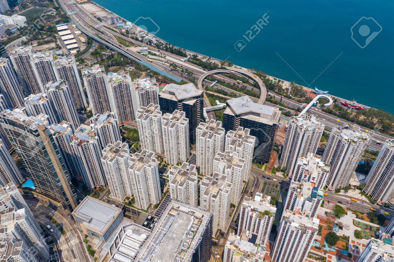 Tai Koo, Hong Kong 19 March 2019: Top down view of Hong Kong city - 122192841