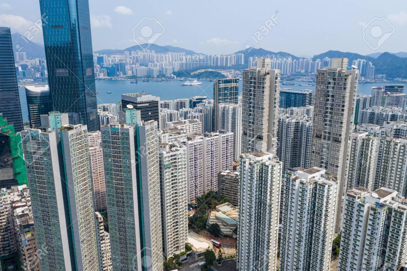 Tai Koo, Hong Kong 19 March 2019: Top view of Hong Kong urban city - 122194842