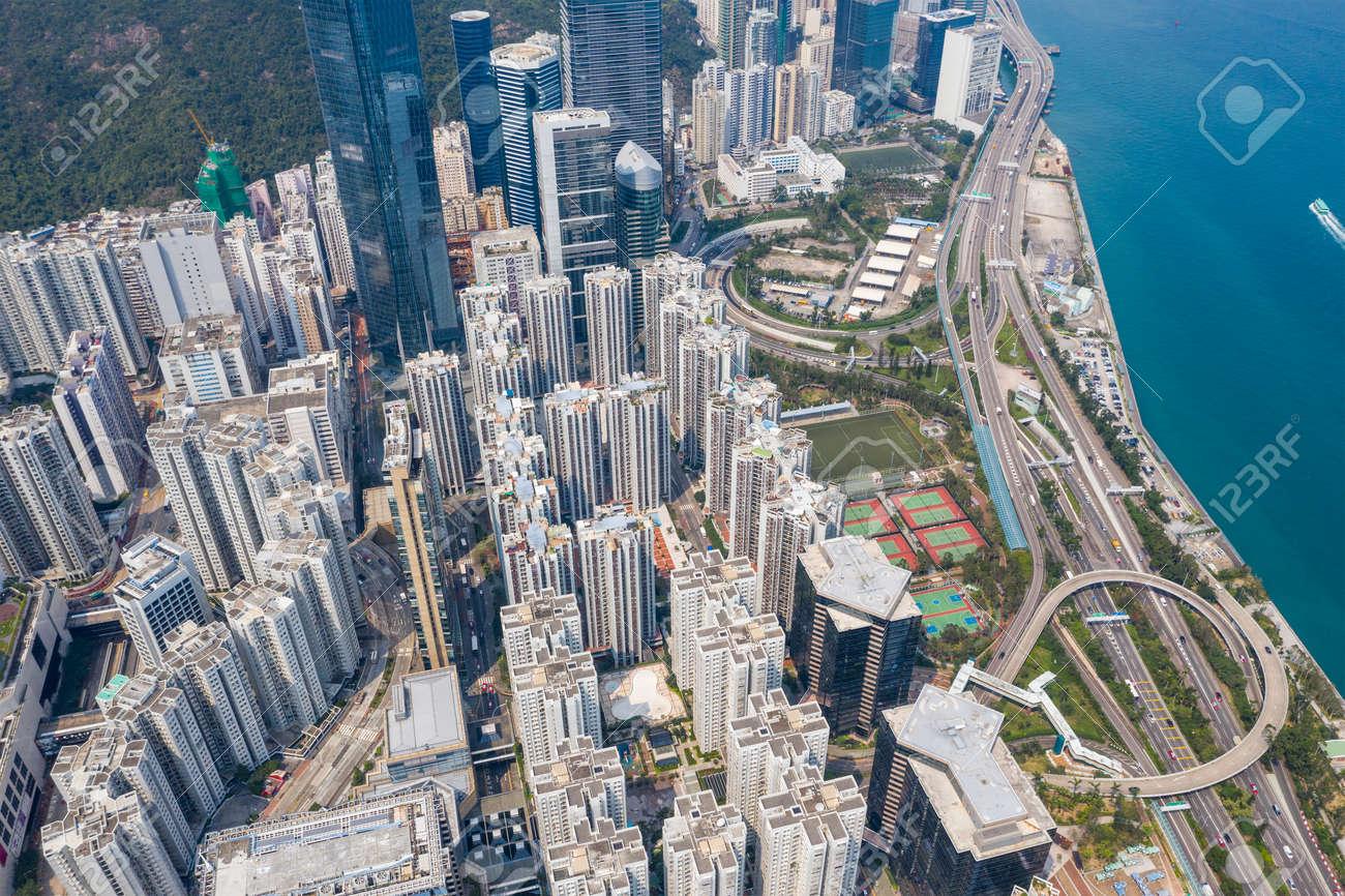 Tai Koo, Hong Kong 19 March 2019: Top view of Hong Kong city - 122195754