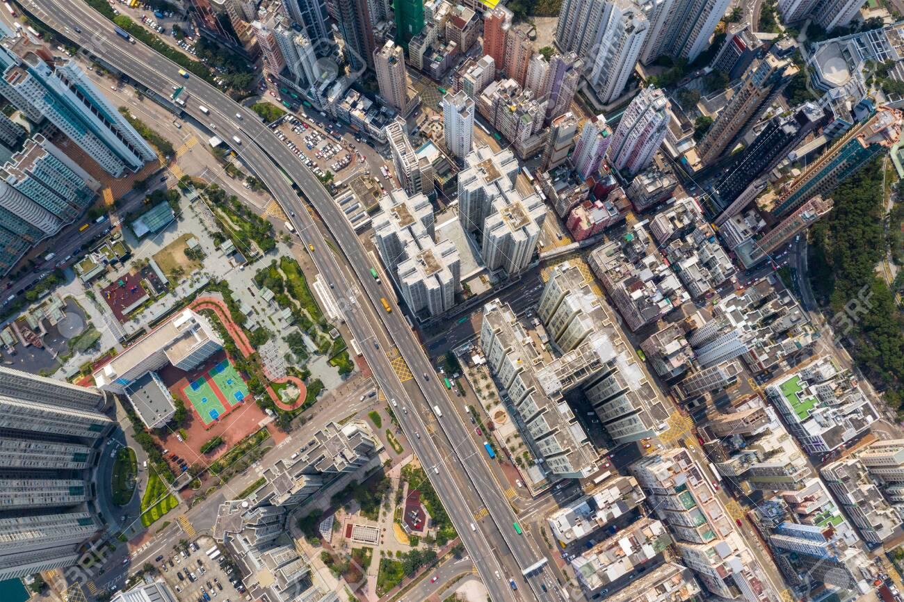 Shau Kei Wan, Hong Kong 19 March 2019: Top view of Hong Kong city - 122196364