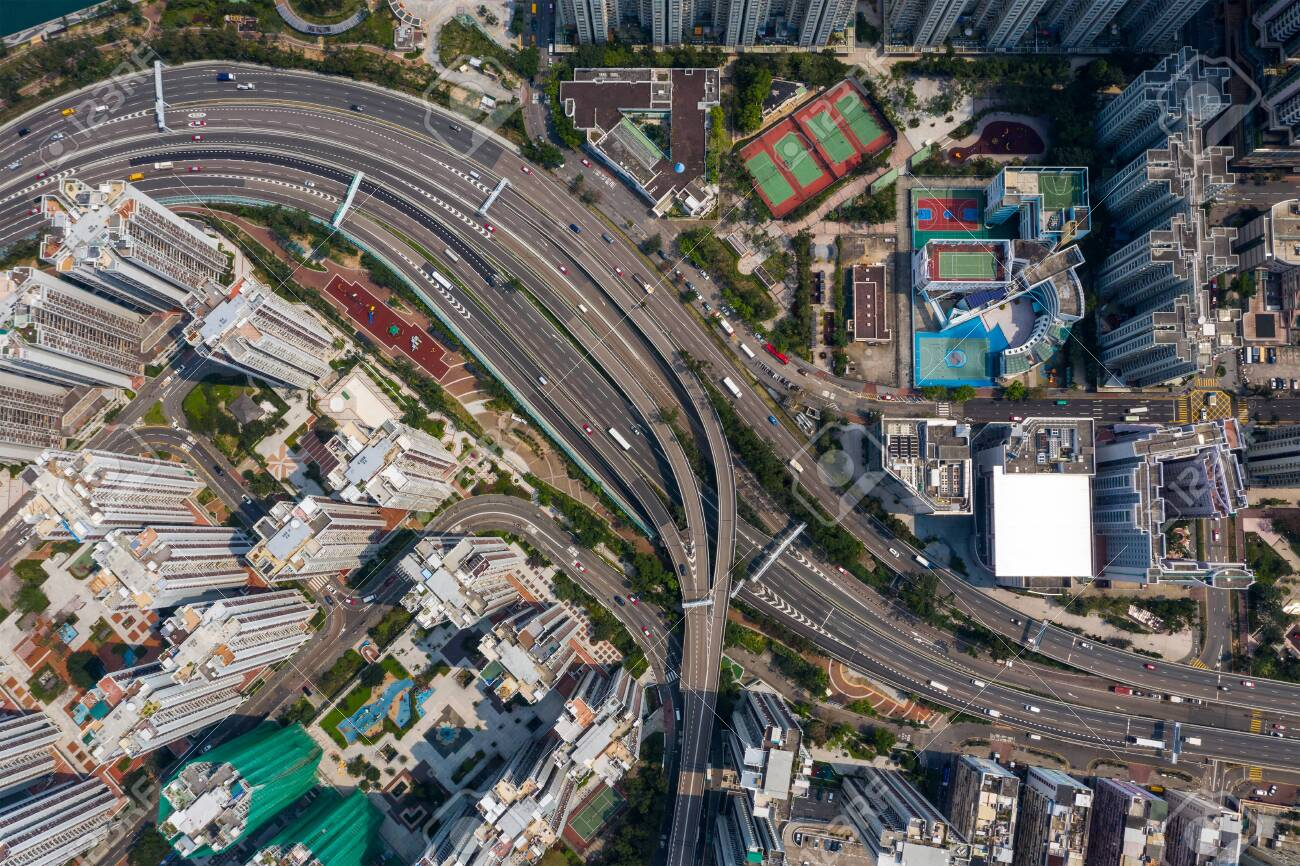 Tai Koo, Hong Kong 19 March 2019: Top view of Hong Kong city traffic - 122197186