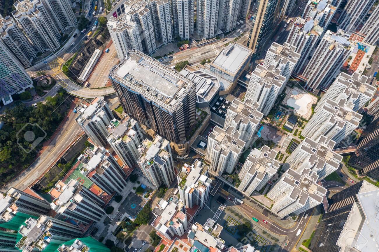 Tai Koo, Hong Kong 19 March 2019: Aerial view of Hong Kong city - 122197582