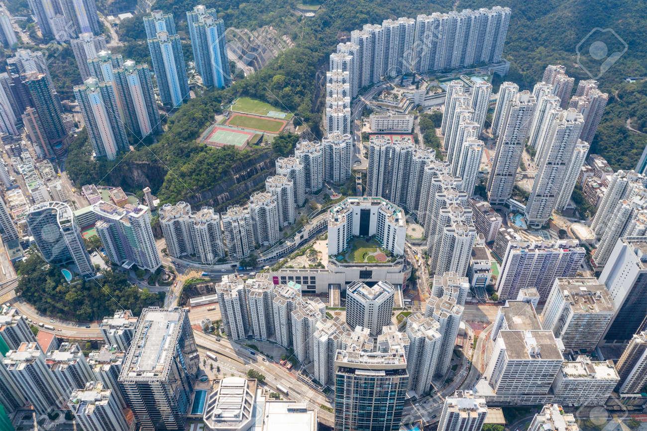 Quarry bay, Hong Kong 19 March 2019: Drone fly over Hong Kong city - 122212316