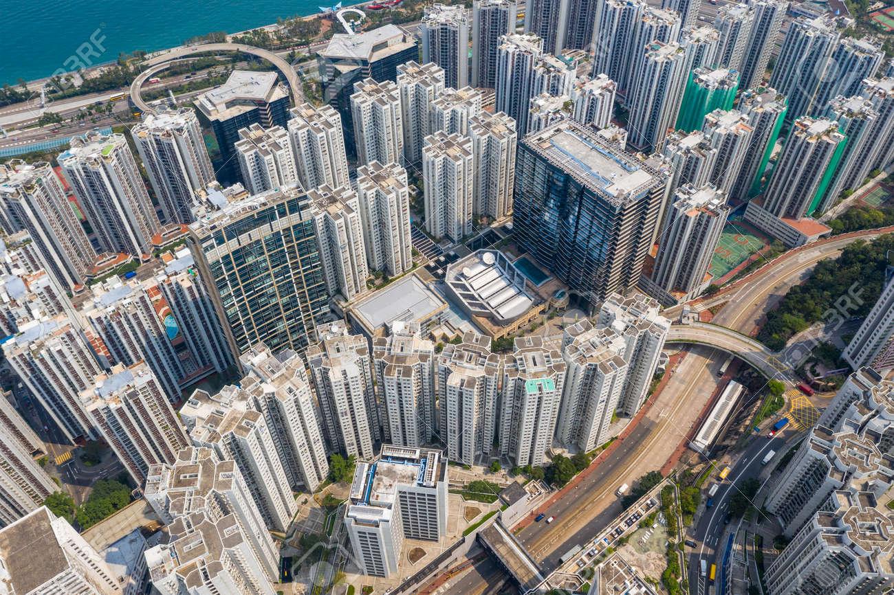 Tai Koo, Hong Kong 19 March 2019: Top view of Hong Kong city - 122212469