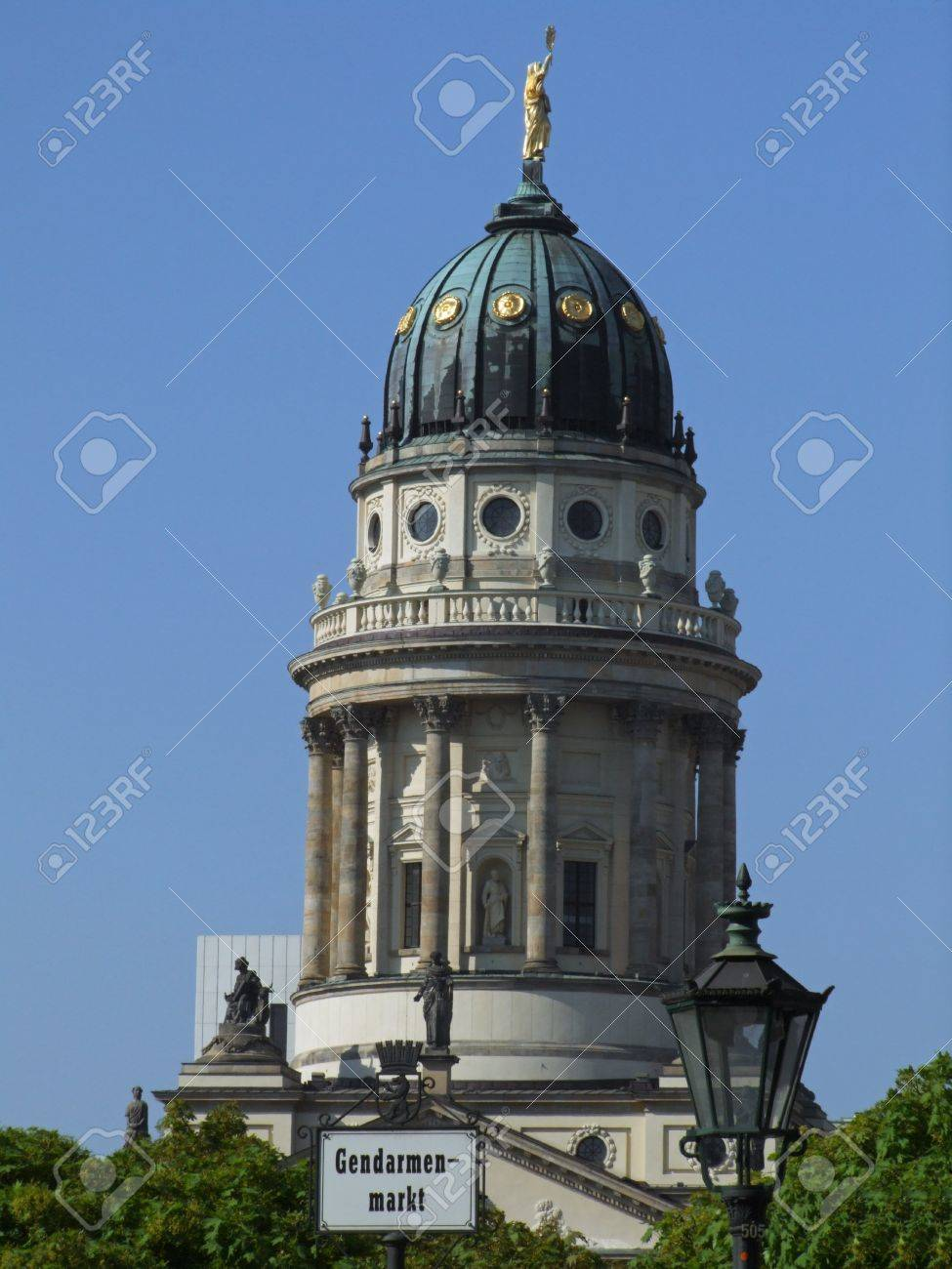 French church of Friedrichstadt, best known as French Cathedral, in Berlin (Germany). The domed tower, resembling that of Deutscher Dom, was built in 1785  to give the Gendarmenmarkt a symmetric design. Stock Photo - 8193794