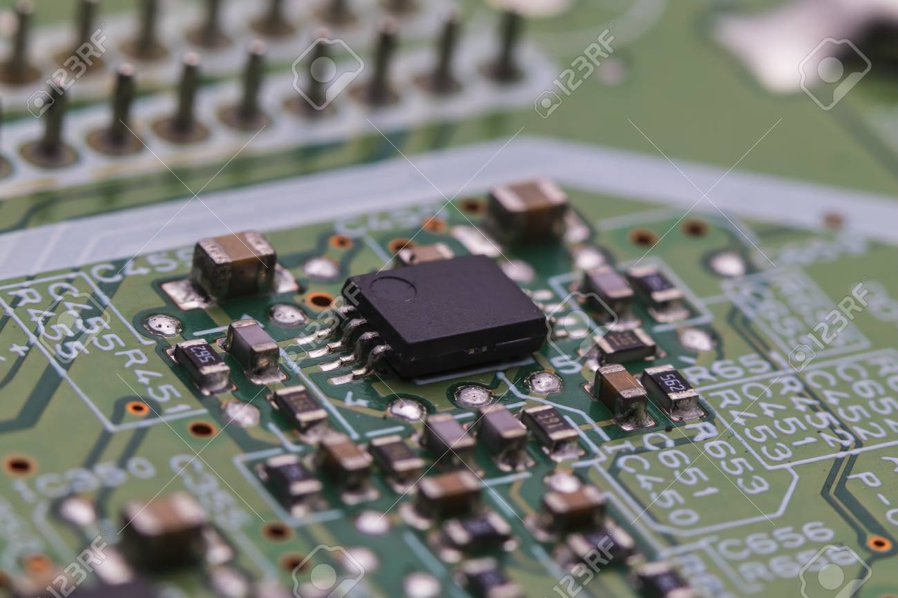 Printed Circuit Board With Chips And Radio Components Electronics Electronic Royalty Free Stock Photography Photo 97366783