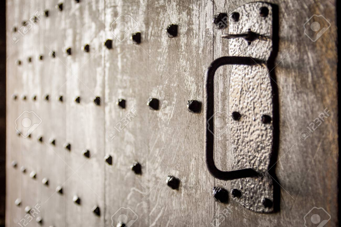 Heavy old wooden castle door with studs. Soft focus and backlit. Stirling Castle & Heavy Old Wooden Castle Door With Studs. Soft Focus And Backlit ...