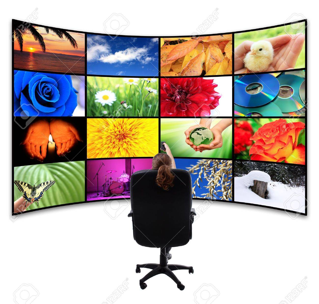 Tv-Panel with remote control Stock Photo - 9161082
