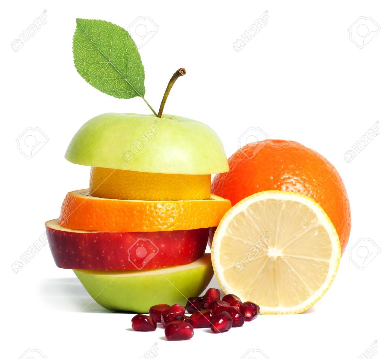Fresh mixed fruit diet isolated - 41664437