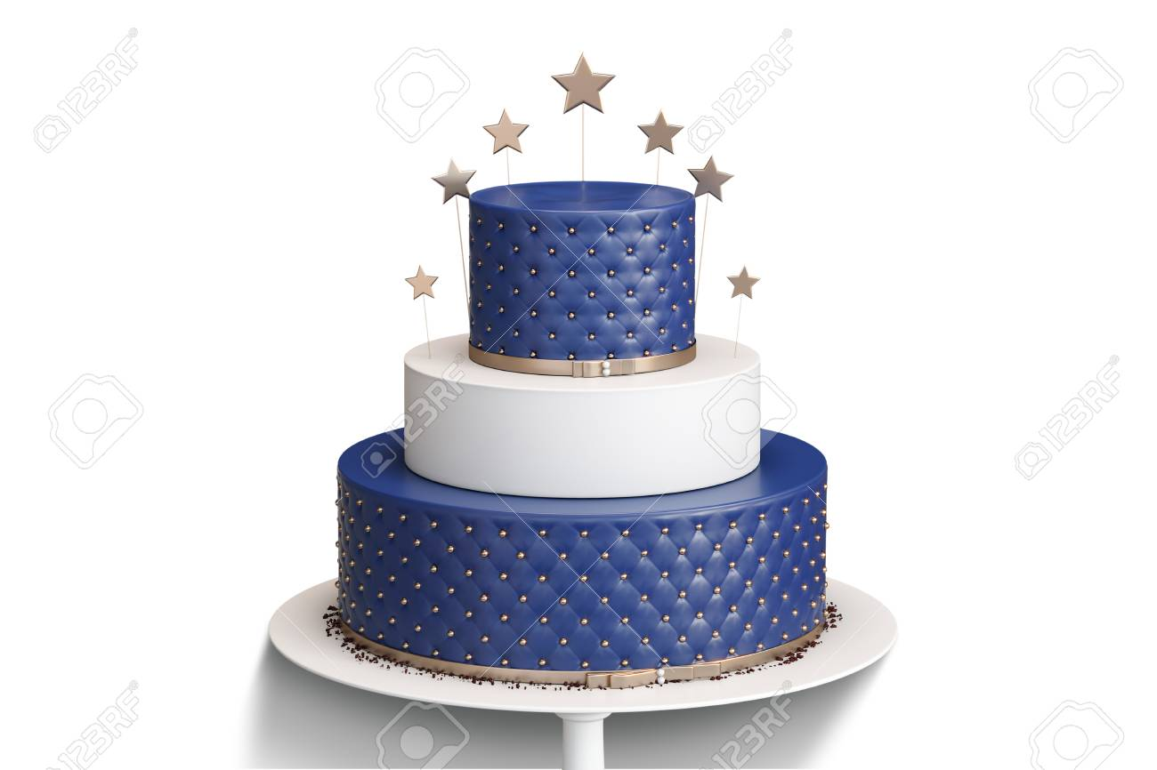 Realistic Blue Three Tiered Wedding Cake Isolated With Decoration ...