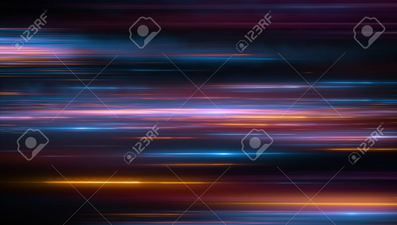 Lights and stripes moving fast over dark background. Orange and bluel backdrop from fast moving glow particles.3d Illustartion - 97636731
