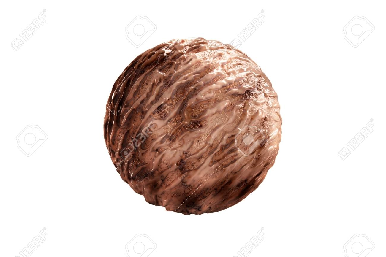 Delicious Chocolate Ice Cream Ball With Beautiful Melting Yogurt