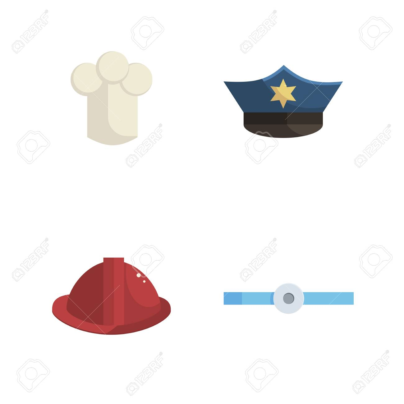 d578271a638 Set of police, fireman, chef and doctor's hats on an white background