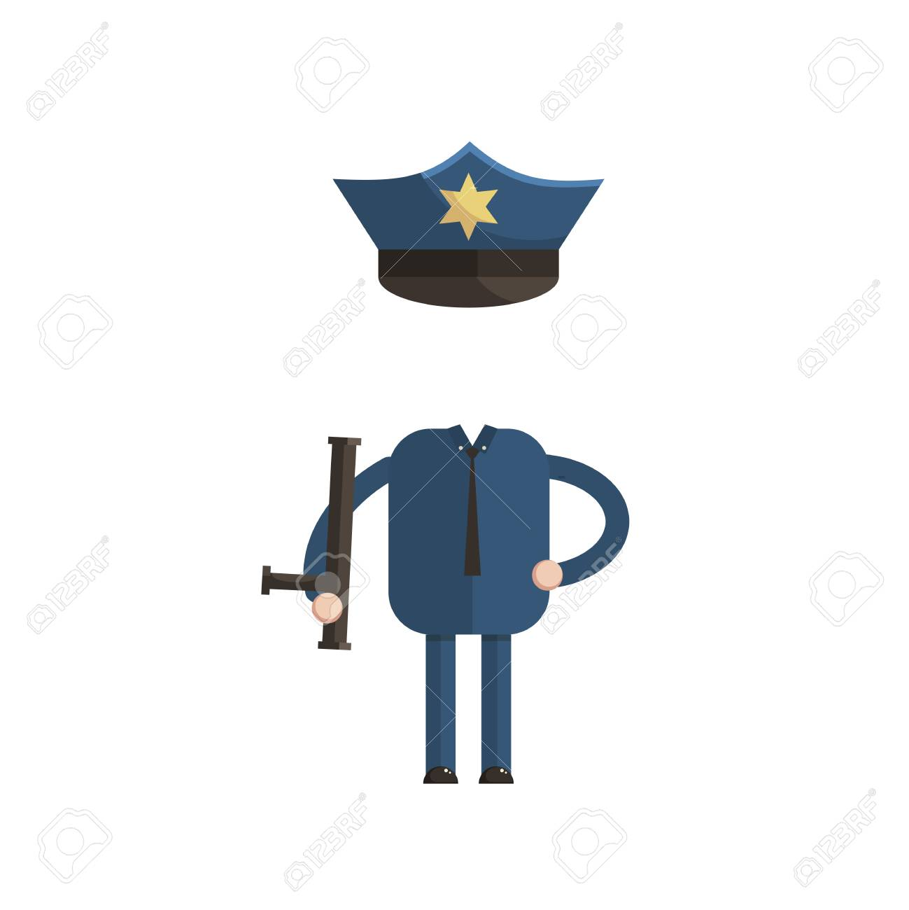 Sticker for a photo or game a police officer costume cartoon style vector illustration cartoon