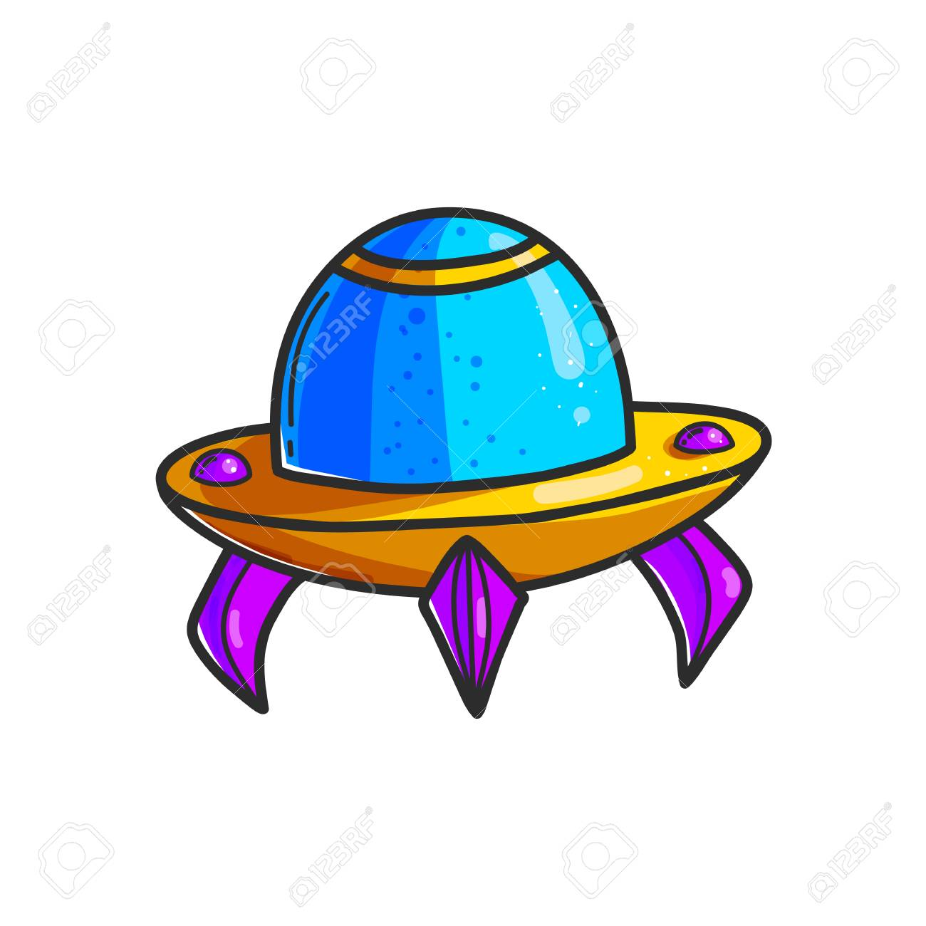 Cartoon Flying Saucers Hand Drawn Color Illustration Cute Ufo Royalty Free Cliparts Vectors And Stock Illustration Image 112511612