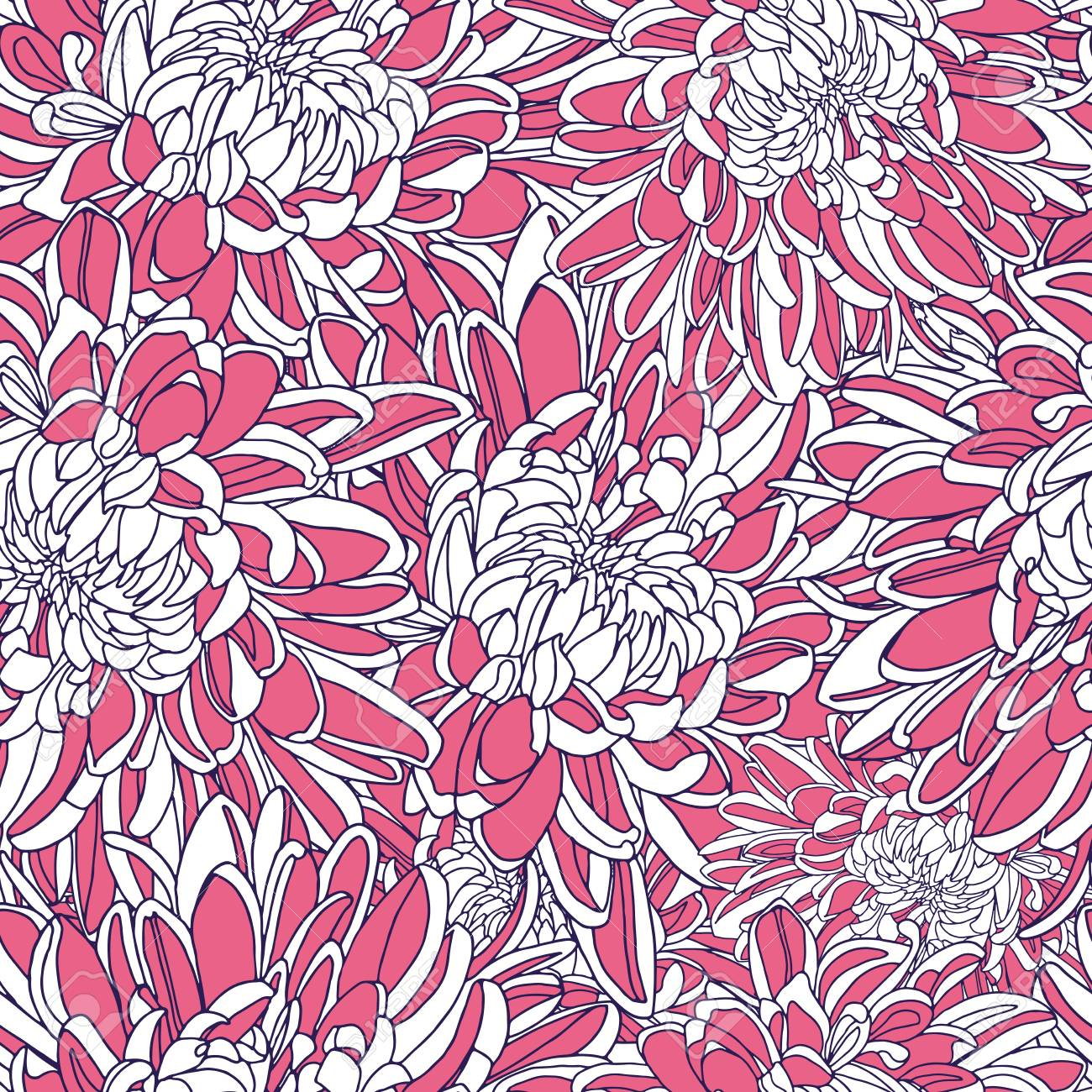 Vector Seamless Floral Pattern Japanese National Flower