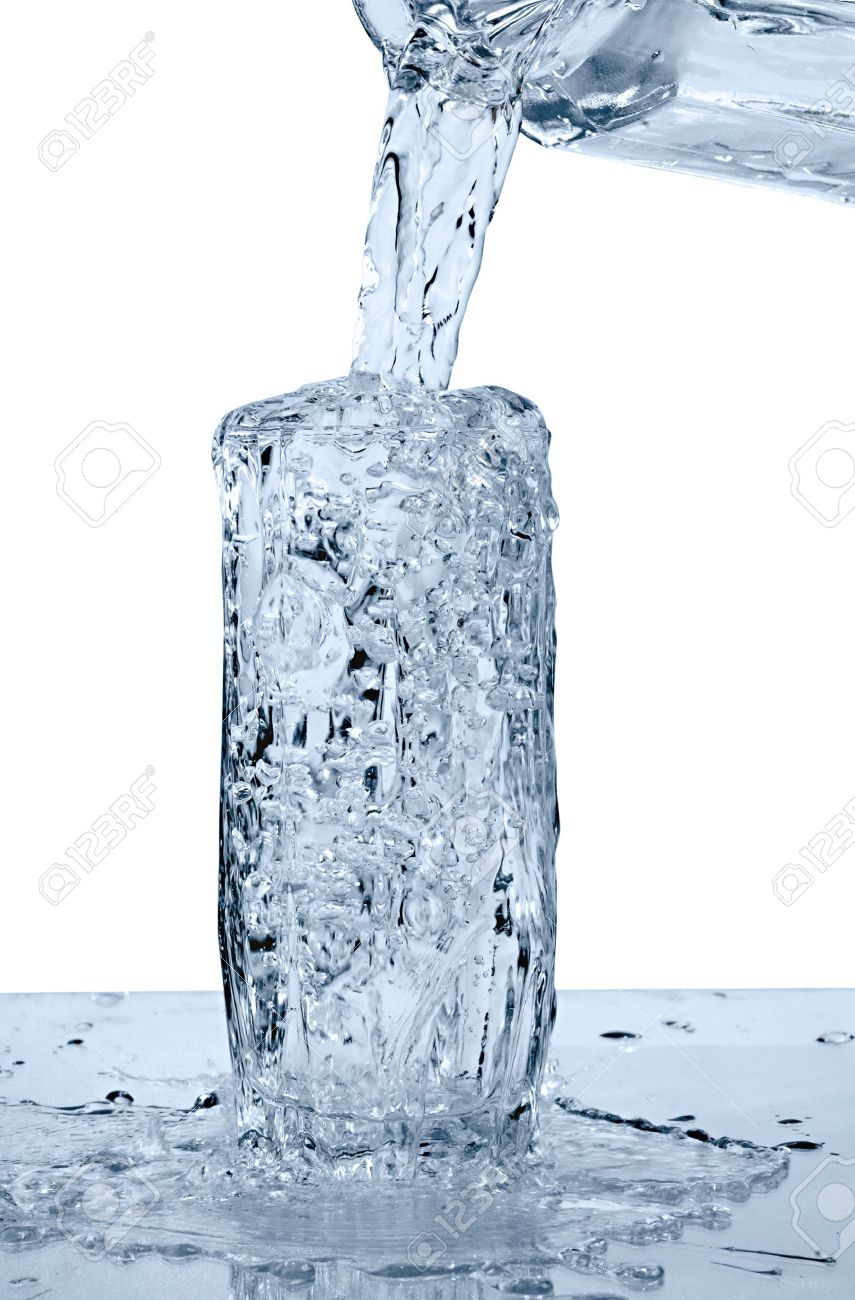 Glass Of A Water With Overflow On White Background Stock Photo ...